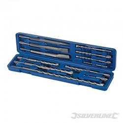 Coffret 12 pièces de forets et burins à maçonnerie SDS-Plus