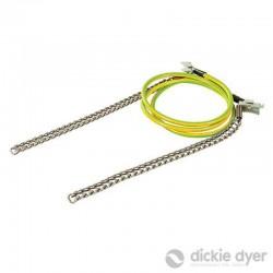 Câble avec chaîne pour mise à la terre temporaire 1,2 m / 250 mm